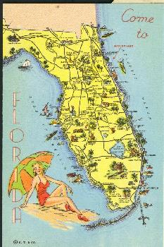 Old Florida Maps.Old Florida Map Showing The Location Of Marineland